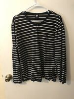 Hang Ten Blue & off white striped Womans Longsleeve Tshirt High Vneck 100% cotto