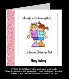 'Not Sisters by Blood, but We Are Sisters by Heart' Best Friend Birthday Card