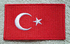 TURKEY FLAG PATCH Embroidered Badge Iron Sew on 3.8cm x 6cm Türkiye Turkish NEW
