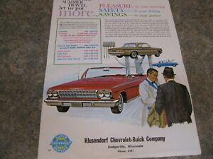 1962 Chevrolet Service mailer  Klusendorf Chevrolet-Buick Dodgeville WI Corvette