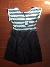 Gray and White Stripe Romper Size 8 M