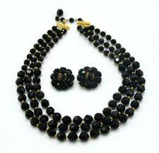 Marvella Black Glass Bead Beaded Multi-Strand Necklace Earring Set Vintage