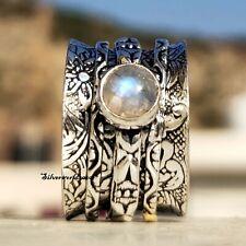 Moonstone Spinner Ring 925 Sterling Silver Plated Handmade Ring Size 7.5 zz388