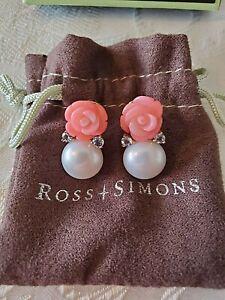 NIB Cultured Pearl Pink Coral .50ct Blue Topaz Rose Drop Earrings 14kt Sterling