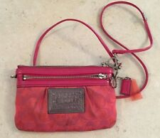 Coach Poppy Pink Orange Small Bag Change Purse Cross Wristlet Hang tag Hangtag
