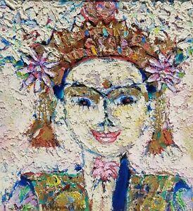 Original 1985 Mohammed The Painter Harahap Indonesian Goddess Portrait Painting