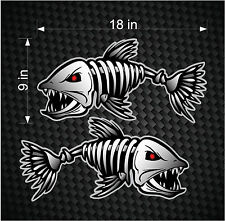 "2 18"" Digital Skeleton Fish Vinyl Decals for Boat Fishing graphics Bone sticker"
