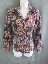 Foxcroft Career Blouse Size 6 Wrinkle Free Fitted Paisley With Dots