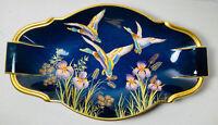 "Carlton Ware Bleu Royale Dark Blue 3 Ducks Mallard Dish Rare 12"" Vintage Flowers"