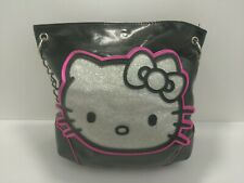 Authentic Hello Kitty Black & Silver Glitter Face Shoulder Bag W/Chain Strap