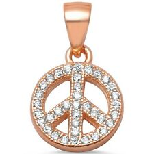 Rose Gold Plated Micro Pave Cz Peace Sign .925 Sterling Silver Pendant