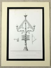 1857 Antique Engraving Print Gaurain Cathedral Belgium Ornate Church Candelabra