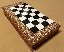 30 Inches (76cm) Large Handmade Indian White  Inlaid Folding Chess  32 Pieces