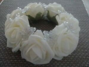 ivory rose flower & AB bead candle ring Wedding decoration and home decor