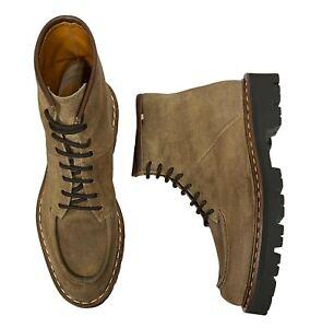 Bally Men's Lybern Boots Size 9.5 (8.5 UK) Tan Moc-Toe Lug Sole Roughout Suede