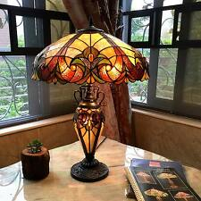 Tiffany-style Victorian Lighted Base Table Lamp Stained Glass Shade Base Fixture