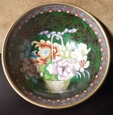 "Gorgeously decorated Rare Antique Cloisonne 7 "" Handmade Bowl Butterfly floral"