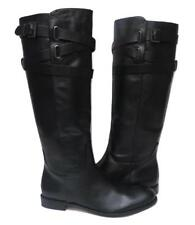 New NIB RARE Coach Cayden Black Smooth Nappa Leather Knee High Riding Boots Heel