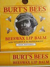 Burts Bees Beeswax Lip Balm in cardboard Lips .15Oz Stick Vitamin E & Peppermint