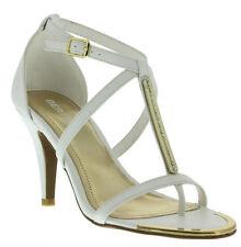 New White High heel Pump cross Ankle Gold T Strap Thong peep toe Sandal Shoe 5.5