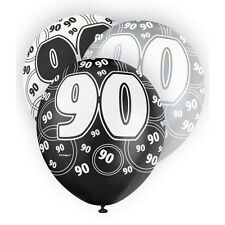 """6 Black Sparkle Happy 90th Birthday 12"""" Pearlized Printed Latex Balloons"""