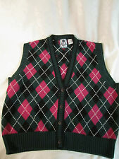 Izod Argyle Sweater Vest Dark Pink Rose & Green Size M GUC