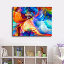 Abstract Rainbow Swirl Cloud Stretched Canvas Prints Framed Wall Art Home Decor