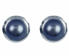 Sterling Silver 6mm Black Natural Freshwater Pearl Ear Studs Earrings + gift bag