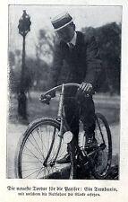 La dernière épreuve pour les parisiens: le (les cyclistes -) tambourin * document illustré 1908