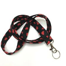 "Valentines Fabric Lanyard ID Badge Key Holder 40"" Quilted Cotton Red Hearts"