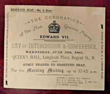 1902 King Edward VII official Coronation ticket