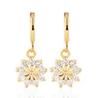 Women 18K Gold Plated Clear Cute Round CZ Cubic Zirconia Drop Earrings Jewelry