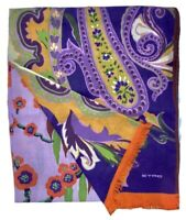 Etro Floral and Paisley Printed Wool Silk Scarf $370