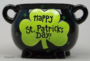 Happy St Patrick's Day Black & Green Pot of Gold Ceramic Pot Dish Bowl NWT