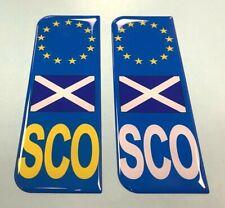 2 x Scotland Euro Sco Vehicle Number Plate Sticker - 39mm - HIGH GLOSS DOMED GEL