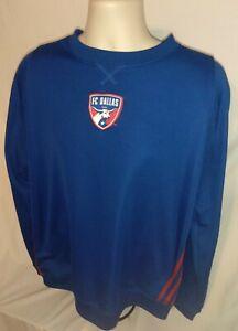 FC Dallas Adidas MLS Pullover Sweatshirt X-Large Blue Red 3 Stripes Crew Jumper
