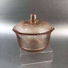 Vintage Pink Depression Glass Covered Condiment Jar Sugar Bowl Dish Grapes