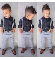 The Children's Place Baby Boys Dress Shirt and Pants Set with suspenders 3-6 M