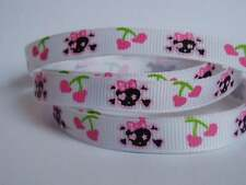 "10 Metres Skulls & Pink Cherry Grosgrain Ribbon 3/8"" 9mm 10mm"
