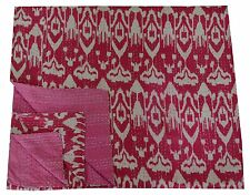 Pink Ikat Kantha Quilt Indian Bedspread Queen Size Blanket Reversible Throw 108""