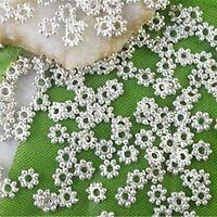1000PCS 4mm Silver Plated Metal Daisy Flower Loose Spacer Beads DIY Findings