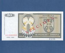 CROATIA / Krajina 50 Dinara 1992 Specimen aUNC  P. R2s