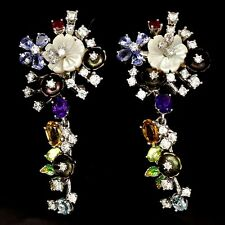 Natural Amethyst Citrine Tanzanite Mother of Pearl & Cz & 925 Silver Earrings