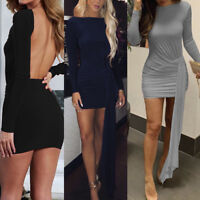 Womens Bodycon Mini Dress Backless Party Long Sleeve Casual Evening Dresses VV