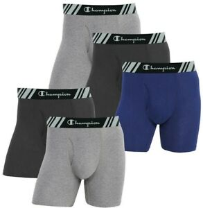 Champion Elite Men's Boxer Briefs 5 Pack Everyday Fit, No Ride Up, Size M to XL