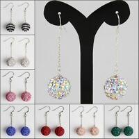 Sparkle Czech Crystal Round Disco Ball 925 Sterling Silver Hook Dangle Earrings