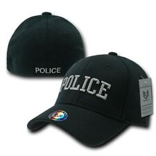 Black Police Officer Cop Embroidered Flex Baseball Fit Fitted Ball Cap Hat L/XL