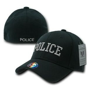 Black Police Officer Cop Embroidered Flex Baseball Fit Fitted Ball Cap Hat S/M