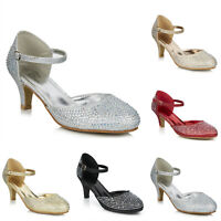 LADIES LOW HEEL GLITTER DIAMANTE ANKLE STRAP WEDDING EVENING PARTY PROM SHOES