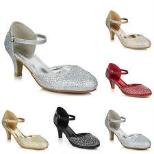 Damas Tacón Bajo Purpurina Diamante Tira al Tobillo Zapatos de noche de fiesta de baile de graduación de Boda